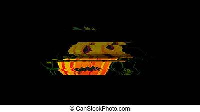 Halloween pumpkin glitch digital background - animation -...