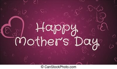Animation Happy Mother's day, greeting card, falling hearts,...