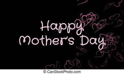 Animation Happy Mother's day, greeting card, pink hearts,...