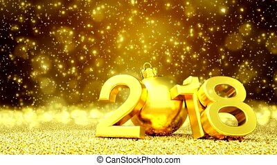 animation - happy new year 2018 - golden greeting card -...
