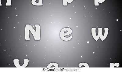 Animation Happy New Year 2019, white letters on grey background