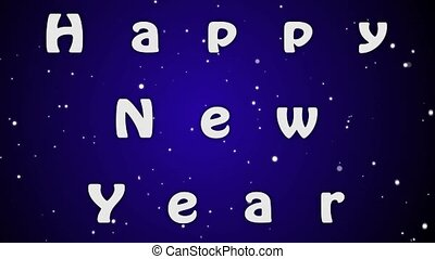 Animation Happy New Year, white letters on blue background
