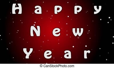 Animation Happy New Year, white letters on red background