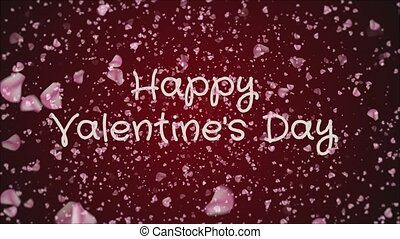 Animation Happy Valentine's day, greeting card, falling pink...