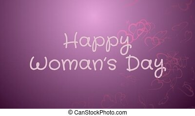 Animation Happy Woman's day, greeting card, pink hearts,...