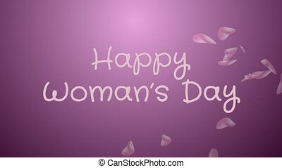 Animation Happy Woman's day, greeting card, pink petals,...