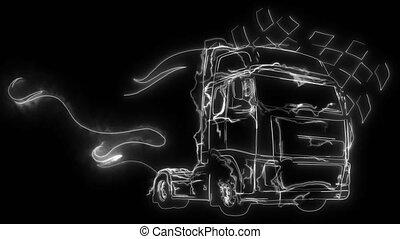 animation, haut, lumières, camion