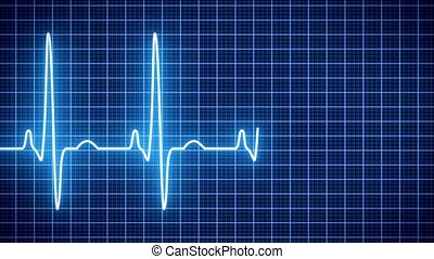 Animation - Heart beat pulse in blue - cardiology -...