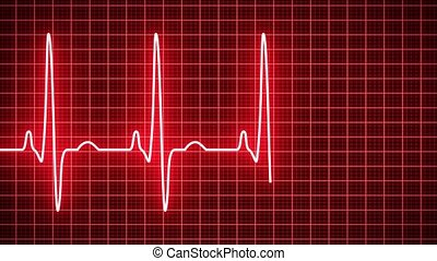 Animation - Heart beat pulse in red - cardiology - Animation...