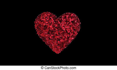 Animation heart of red rose petals