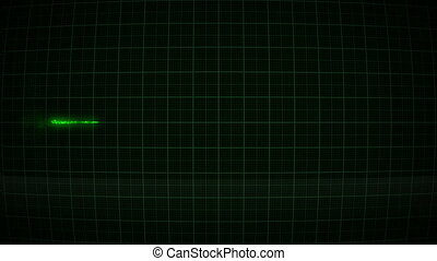 Animation Heartbeat, pulse on the green monitor 1920x1080, 1080p, full hd,