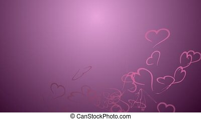 Animation hearts, no text, greeting card, pink hearts black...
