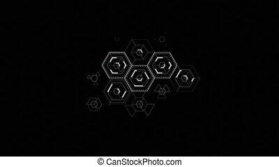 animation., hexagone, icônes, résumé, screen., remplissage, noir, 4k, fond, numérique, ultra, technologie, dessin, hd, 3d