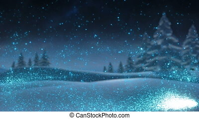 animation, hiver, espace, forêt, copie