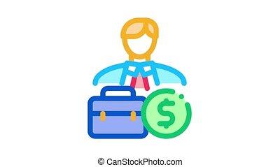 animation, homme affaires, argent, icône, cas