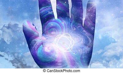 animation, humain, atome, main., modèle