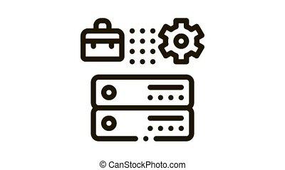 animation, icône, cas, engrenage, cartes, business