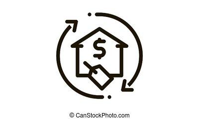 animation, icône, pourcentage, reprise, financement, maison