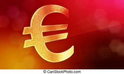 Animation icon or emblem of Euro Logo. Financial background...