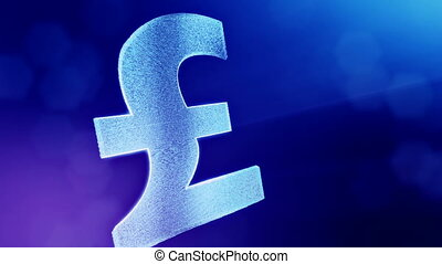 Animation icon or emblem of GBR Logo or pound.. Background made of glow particles as vitrtual hologram. Shiny 3D loop animation with depth of field, bokeh and copy space. Blue color v1