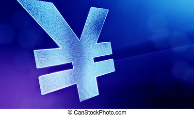 Animation icon or emblem of Japanese yen Logo. Background made of glow particles as vitrtual hologram. Shiny 3D seamless animation with depth of field, bokeh and copy space. Blue color v2.