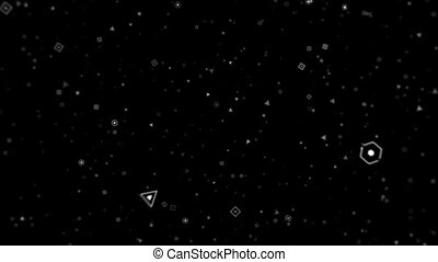 Animation in motion of geometric shape microparticles on black background HD 1920x1080