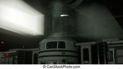 Animation inside a sci-fi spaceship