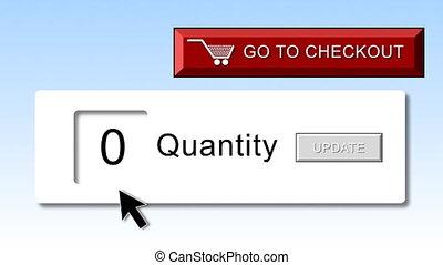animation., internet- einkaufen, begriff, online