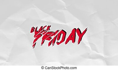 Animation intro text Black Friday on hipster and paper background