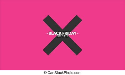 Animation intro text Black Friday on red fashion and minimalism background with geometric cross