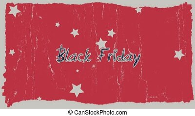 Animation intro text Black Friday on red hipster and grunge background with stars