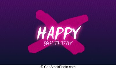 Animation intro text Happy Birthday on purple fashion and minimalism background with geometric cross