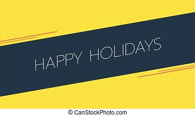 Animation intro text Happy Holidays on yellow fashion and ...