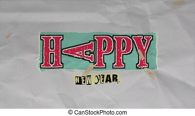 Animation intro text Happy New Year on paper hipster and grunge background