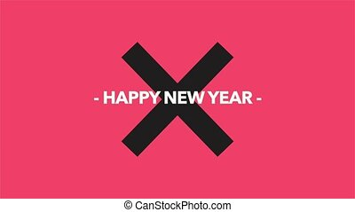 Animation intro text Happy New Year on red fashion and minimalism background with black cross