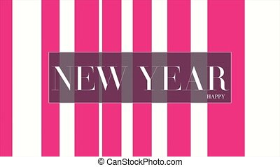 Animation intro text Happy New Year on white fashion and minimalism background with red lines