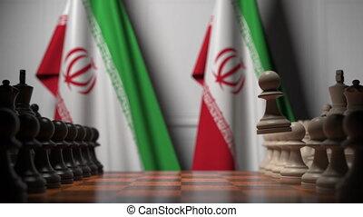 animation, iran, chessboard., ou, apparenté, gages, 3d, derrière, politique, drapeaux, jeu échecs, rivalité