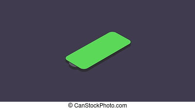 Isometric indicate low and full battery of smartphone on blue background