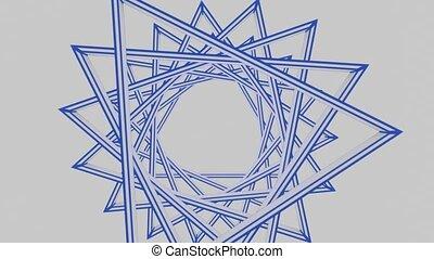 animation, israël, effect., blanc, composé, bleu, tourner, colors., fond, david, inhabituel, étoile, triangles., morphing, national