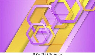 animation, jaune, géométrique, rose, vidéo, hexagones
