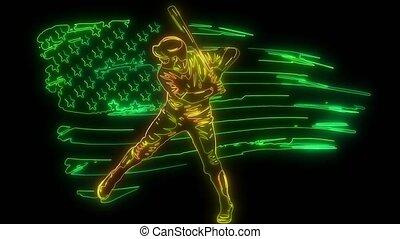 animation, joueur, style, numérique, haut, base-ball, éclairage, néon