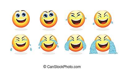 animation, karikatur, sammlung, emoji
