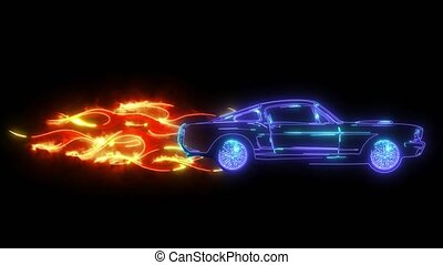 animation, laser, retro, muscle, voiture