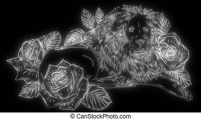 animation, lion, lumières, haut