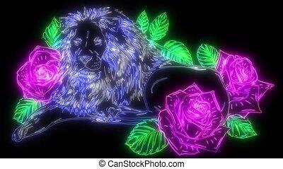 animation, lion, roses, style, numérique, haut, éclairage, ...