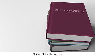 animation, livres, tas, numismatics., 3d