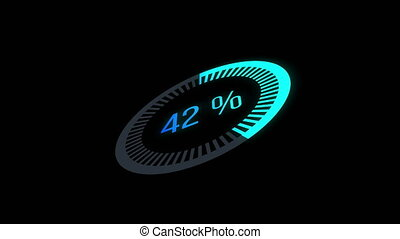 Animation loading bar. 0-100 %. glow circle bar.Loading Animation - 0-100%.blue and green gradient
