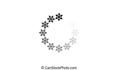 animation - loading circle flower icon on white background with alpha channel.