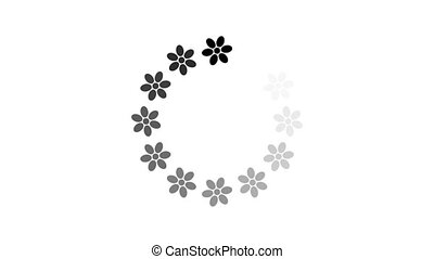 animation - loading circle flower icon on white background with alpha channel. 4K video.