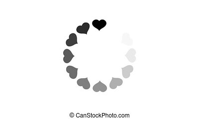animation - loading circle heart icon on white background with alpha channel.